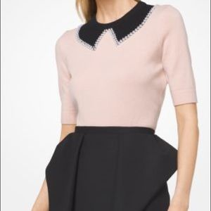 Faux Pearl Collar Cashmere Knit by Michael Kors